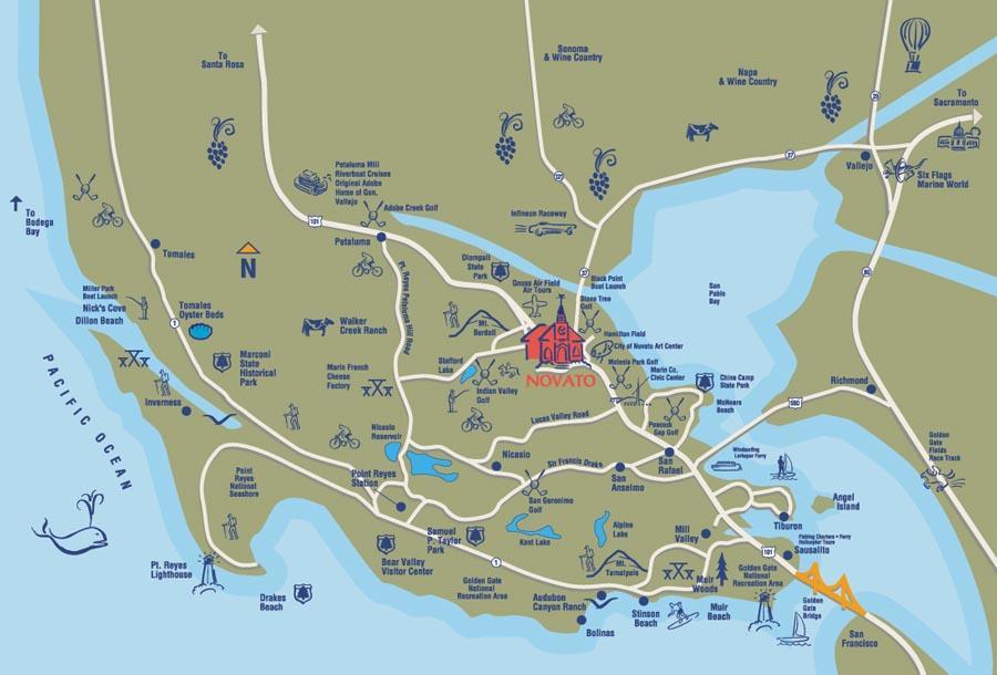 Novato Ca Map Getting Around Novato | Novato Car Rental | Visit Novato