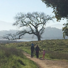 Family with kids hiking Bay Trail