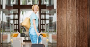 business traveler entering a hotel
